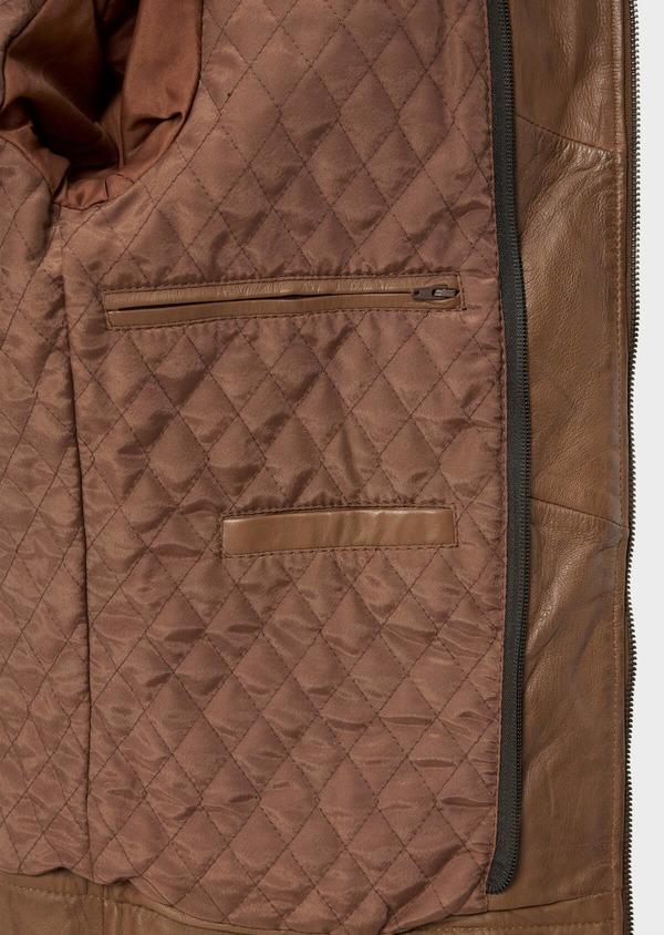 Blouson Biker en cuir uni marron avec parementure à capuche amovible - Father and Sons 34672