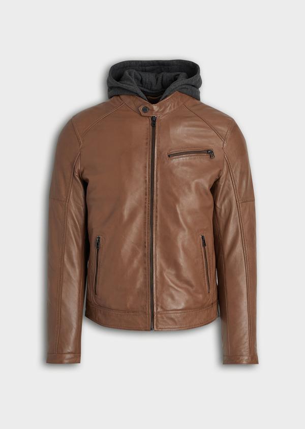 Blouson Biker en cuir uni marron avec parementure à capuche amovible - Father and Sons 34667