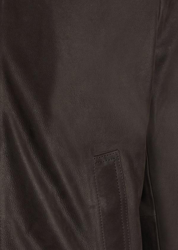 Blouson en cuir nubuck uni marron foncé - Father and Sons 34647