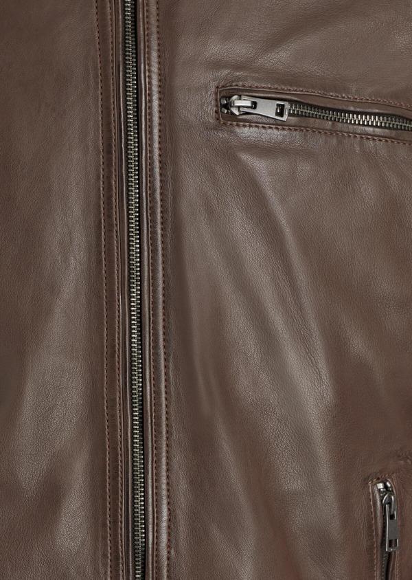 Blouson Biker en cuir uni cognac à capuche amovible - Father and Sons 34661