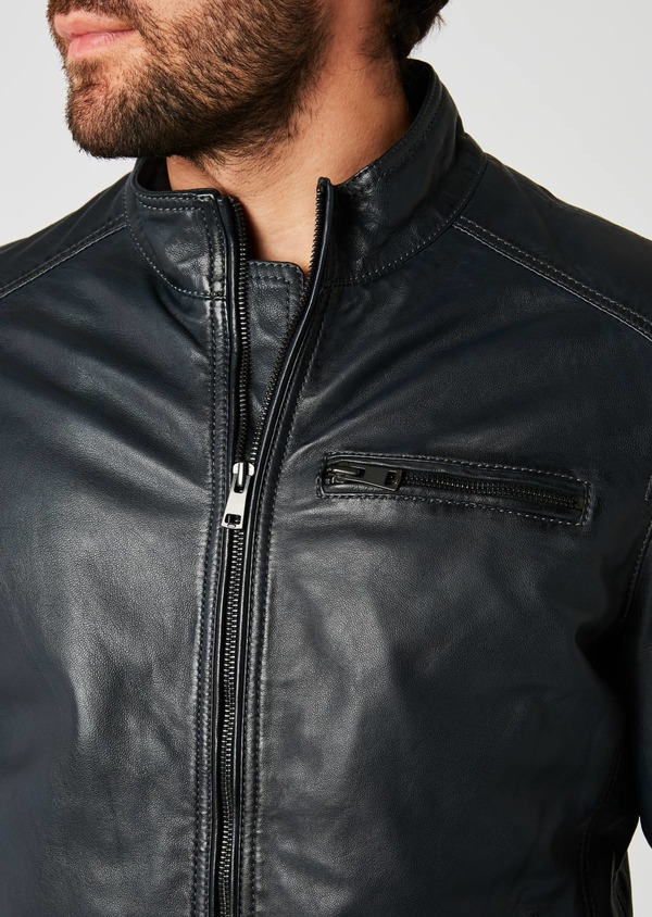 Blouson en cuir uni marine - Father and Sons 20073