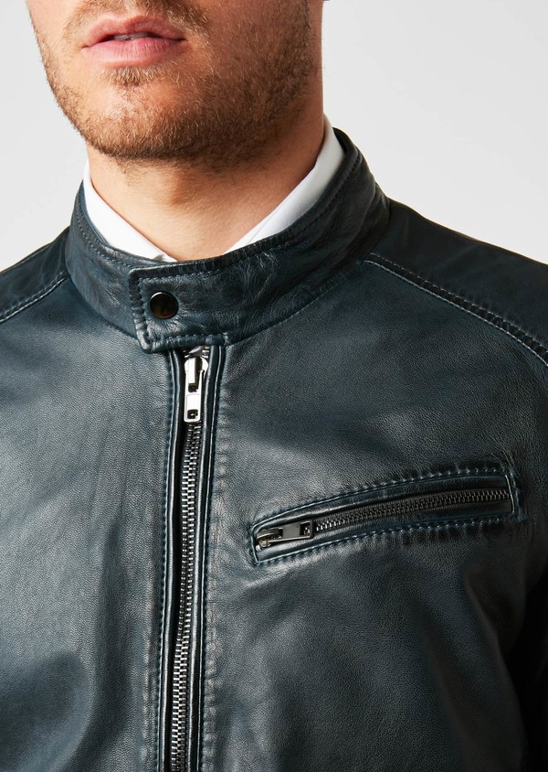 Blouson Biker en cuir uni bleu indigo - Father and Sons 25535