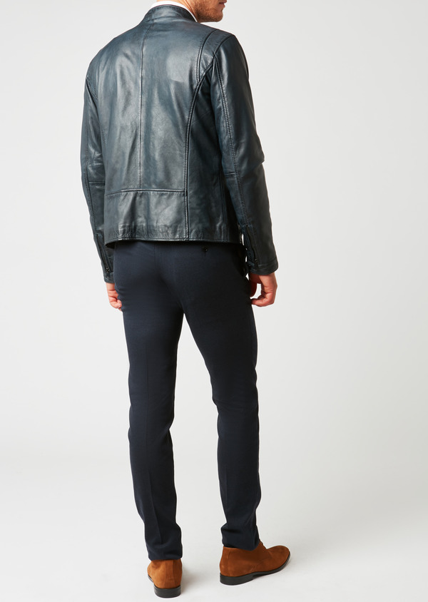 Blouson Biker en cuir uni bleu indigo - Father and Sons 25534