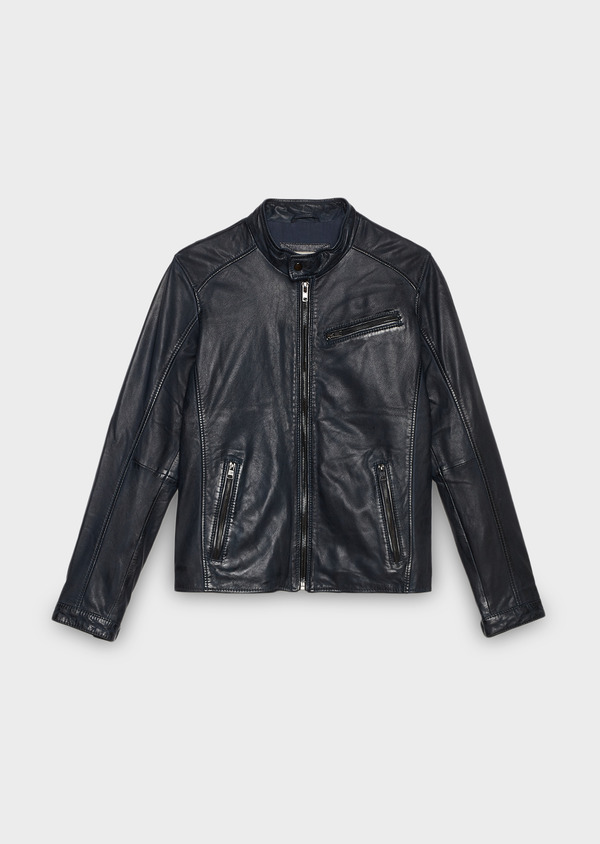 Blouson Biker en cuir uni bleu indigo - Father and Sons 25532