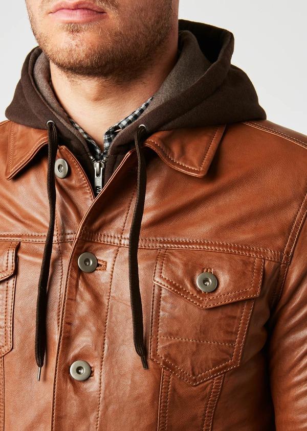 Blouson veste en cuir uni marron clair à capuche amovible - Father and Sons 25577