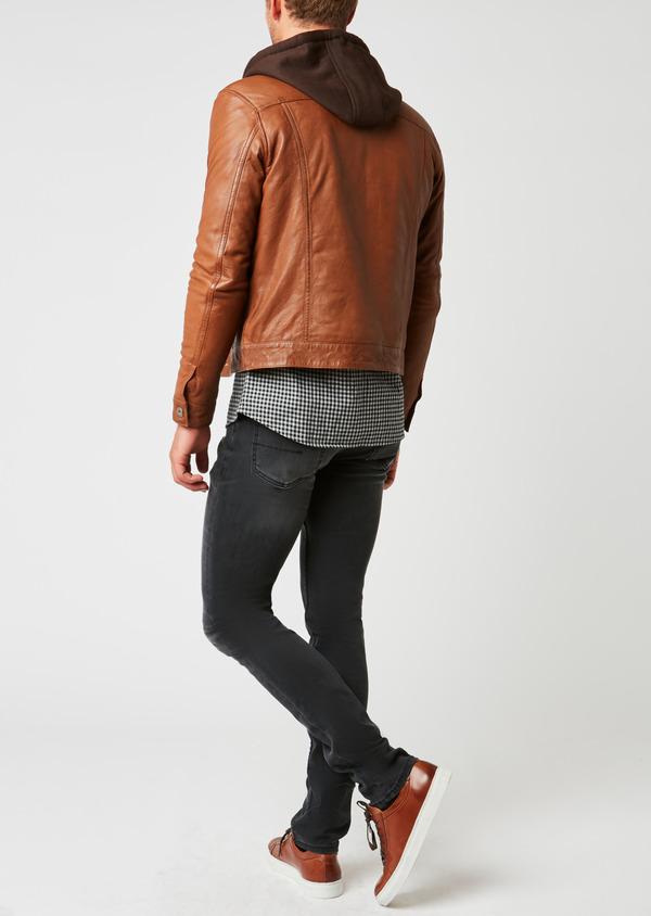 Blouson veste en cuir uni marron clair à capuche amovible - Father and Sons 25576
