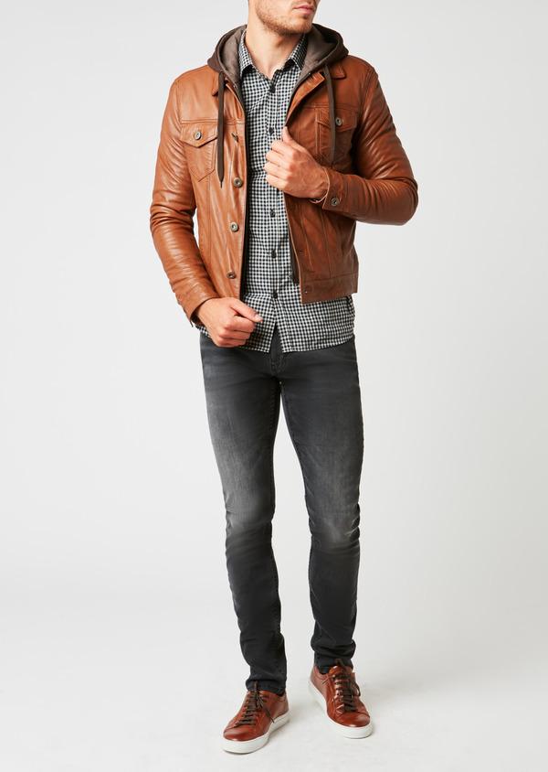 Blouson veste en cuir uni marron clair à capuche amovible - Father and Sons 25575