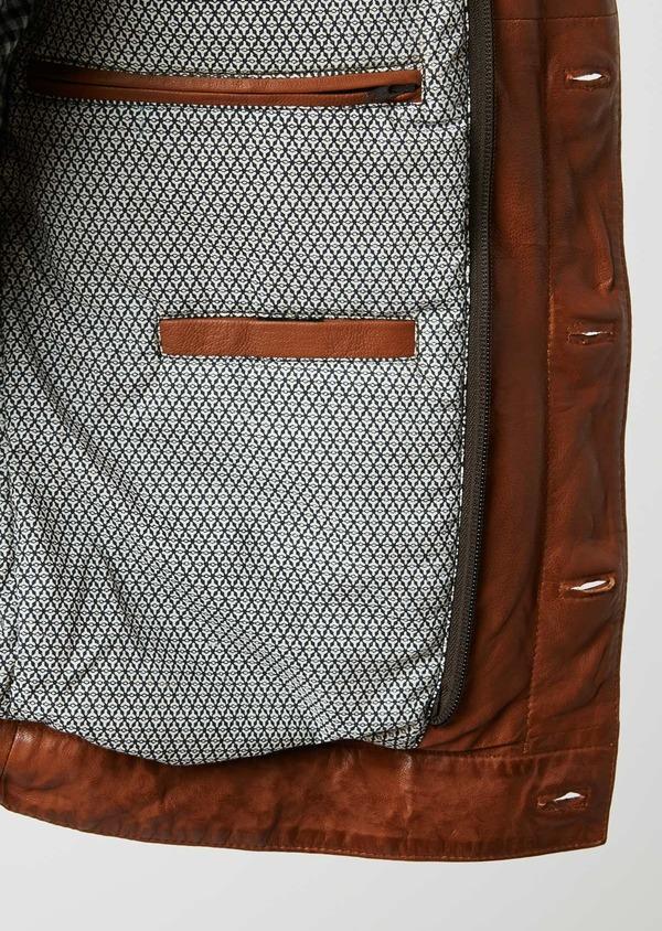 Blouson veste en cuir uni marron clair à capuche amovible - Father and Sons 25578
