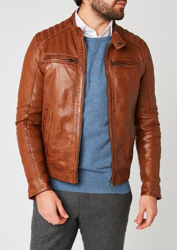 Blouson Biker en cuir uni marron clair à capuche amovible - Father and Sons 25589