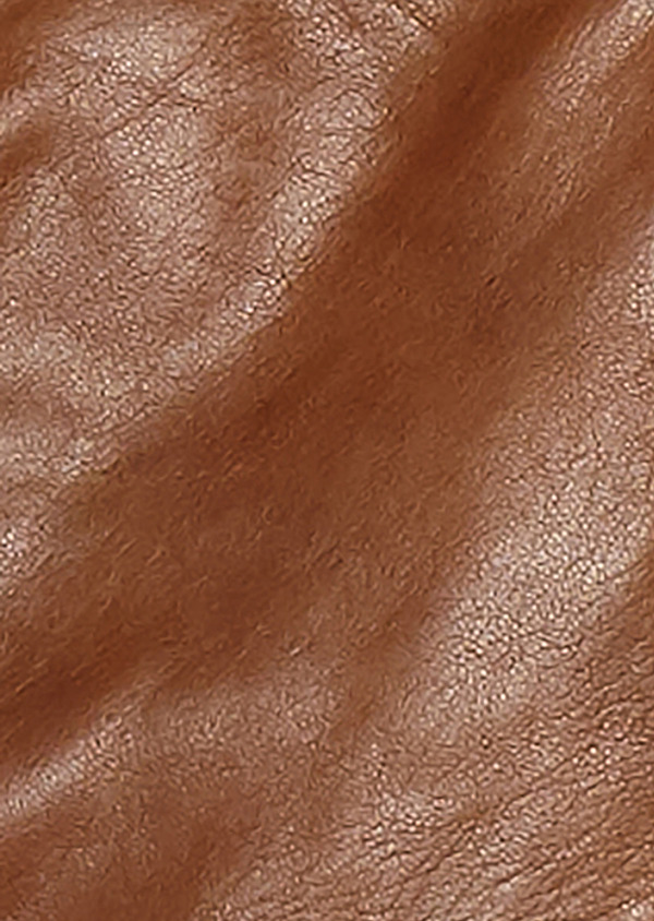Blouson Biker en cuir uni marron clair à capuche amovible - Father and Sons 25584