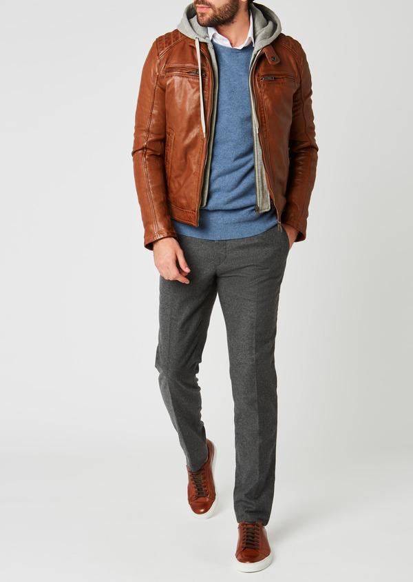 Blouson Biker en cuir uni marron clair à capuche amovible - Father and Sons 25585