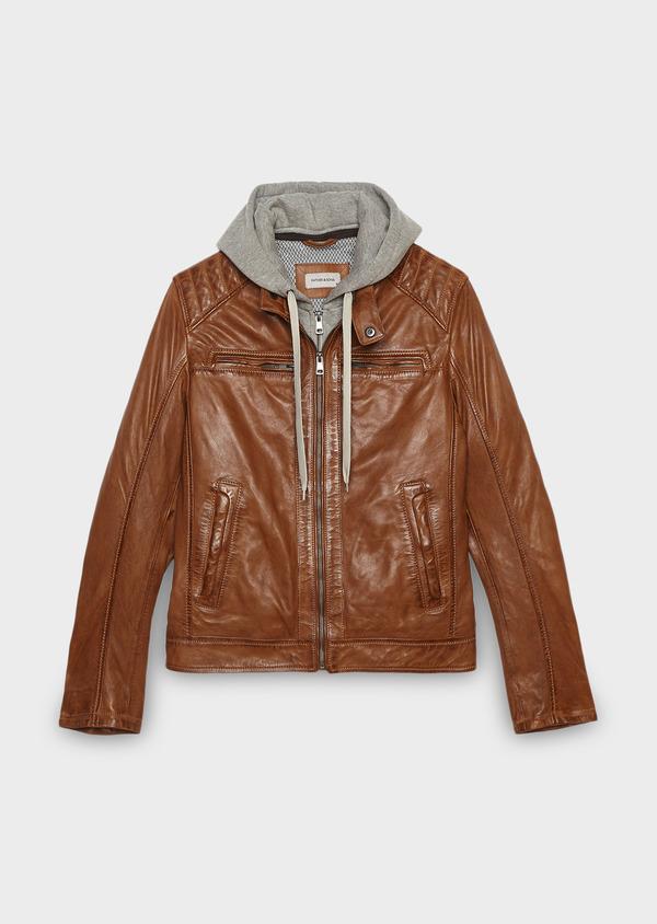 Blouson Biker en cuir uni marron clair à capuche amovible - Father and Sons 25583