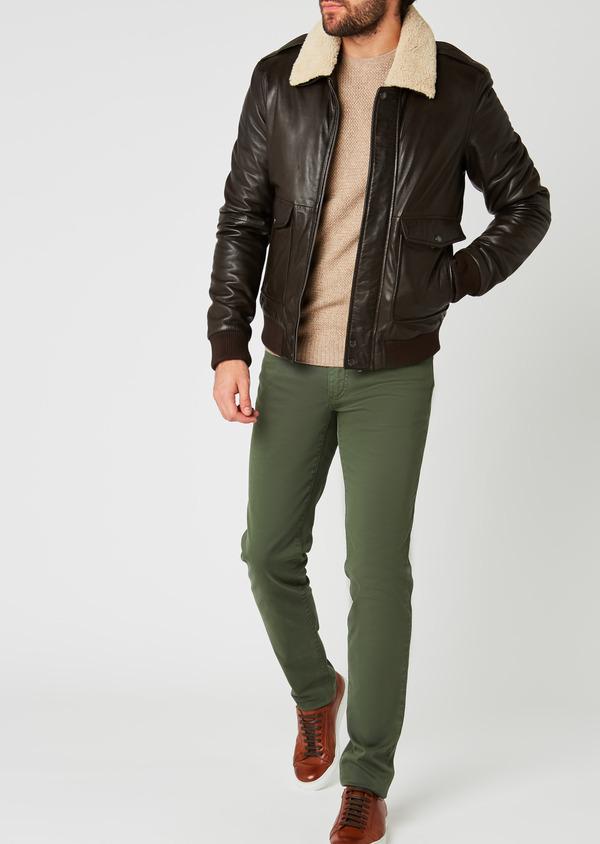 Blouson Aviateur en cuir uni marron foncé - Father and Sons 25594