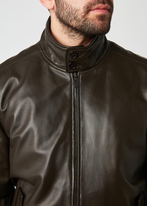 Blouson en cuir uni marron - Father and Sons 28372
