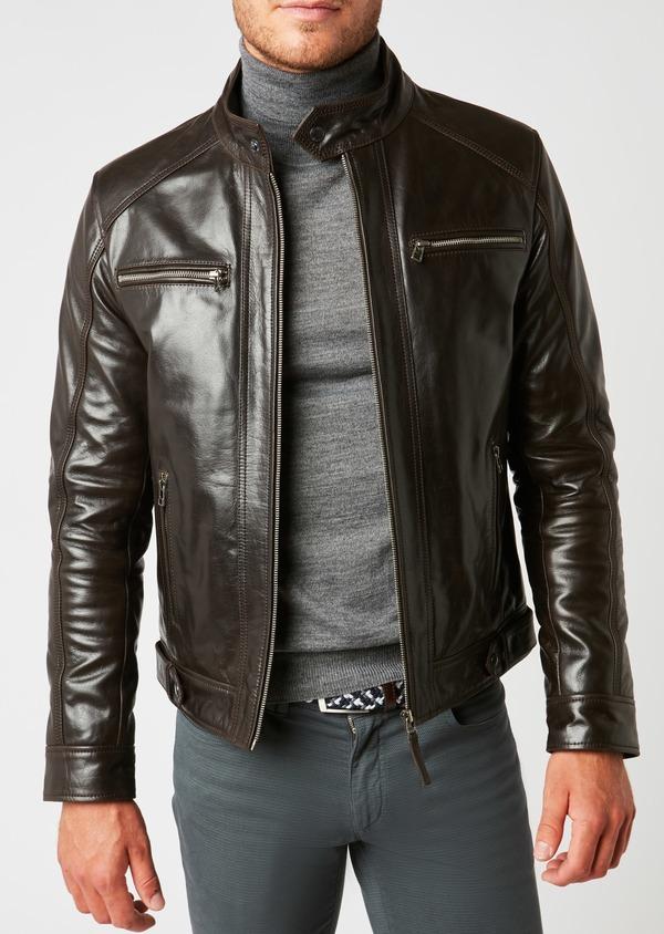 Blouson Biker en cuir uni marron à capuche amovible - Father and Sons 25570