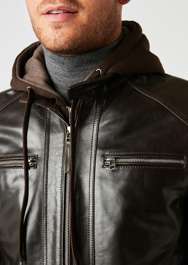 Blouson Biker en cuir uni marron à capuche amovible - Father and Sons 25568