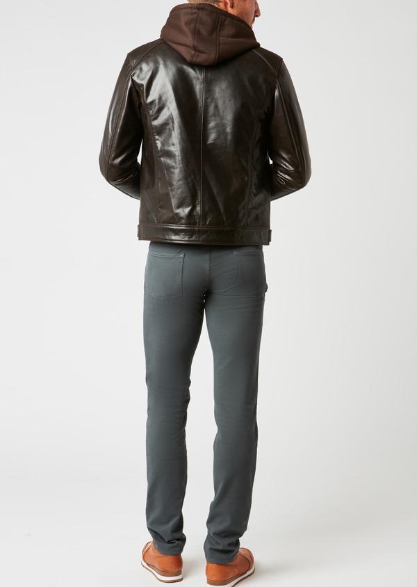 Blouson Biker en cuir uni marron à capuche amovible - Father and Sons 25567