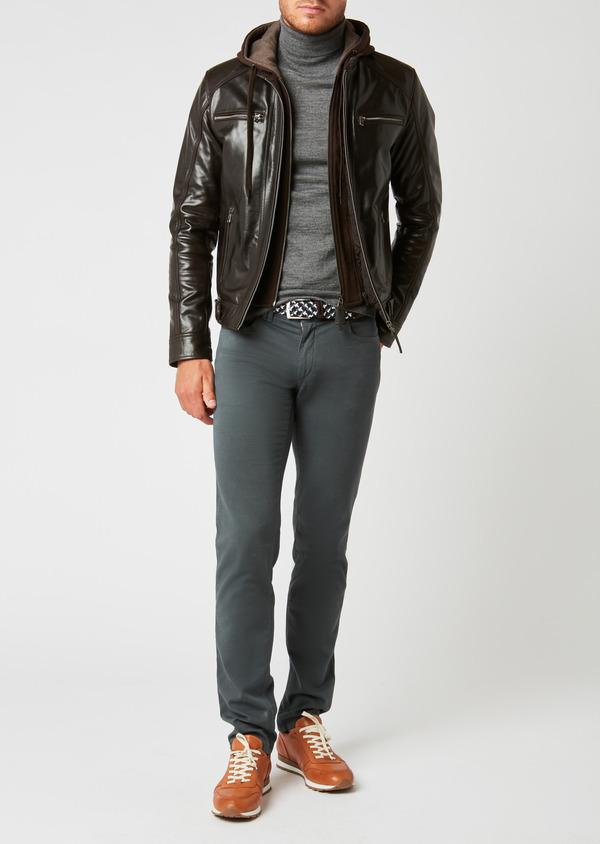 Blouson Biker en cuir uni marron à capuche amovible - Father and Sons 25566