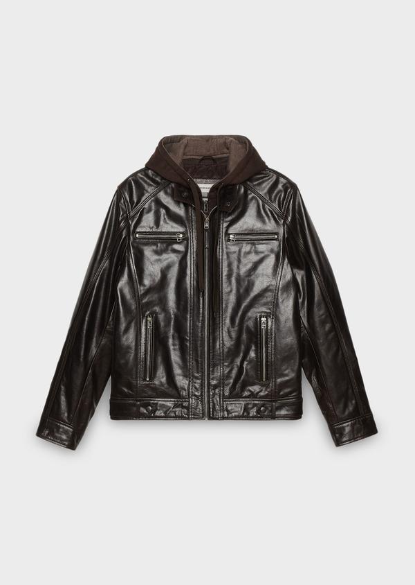 Blouson Biker en cuir uni marron à capuche amovible - Father and Sons 25564