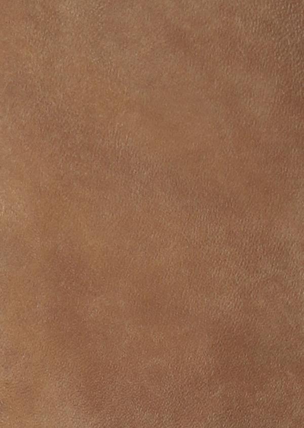 Blouson Biker en cuir uni beige foncé - Father and Sons 33798