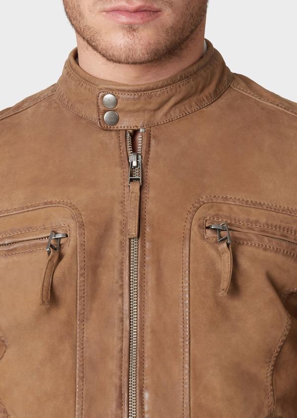 Blouson Biker en cuir uni beige foncé - Father and Sons 33801
