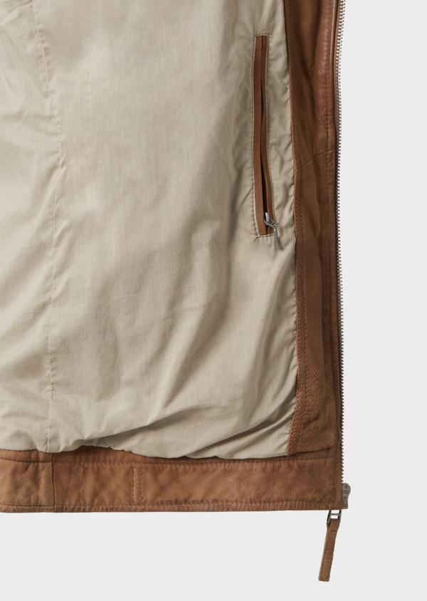 Blouson Biker en cuir uni beige foncé - Father and Sons 33802