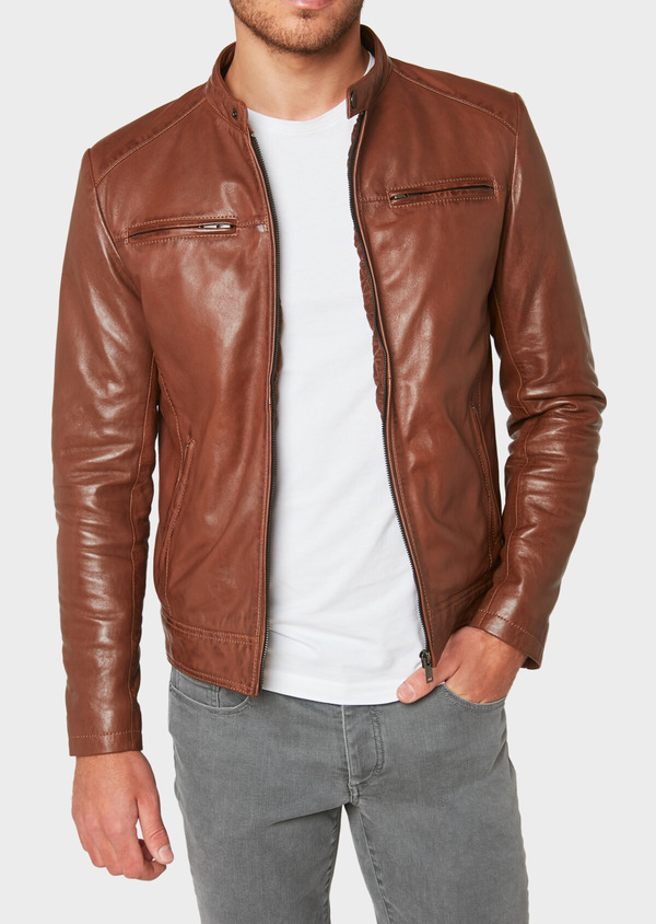 Blouson en cuir uni cognac - Father and Sons 31963