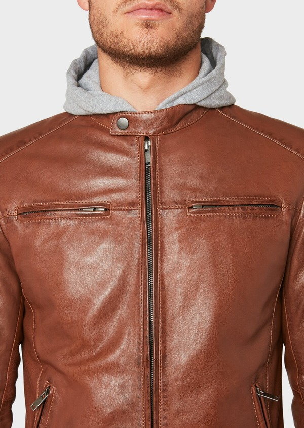 Blouson en cuir uni cognac - Father and Sons 31961