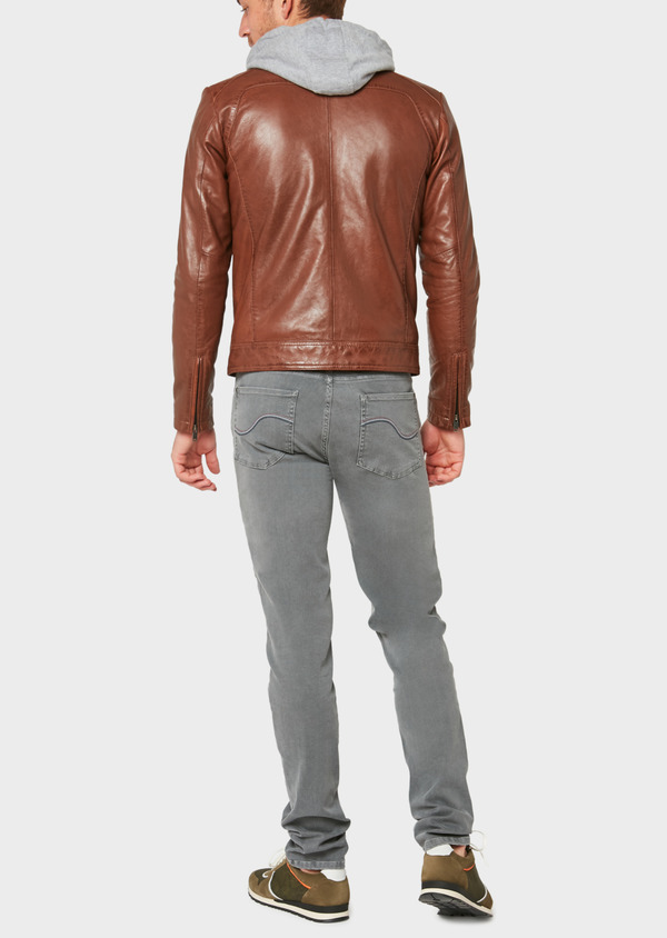 Blouson en cuir uni cognac - Father and Sons 31960
