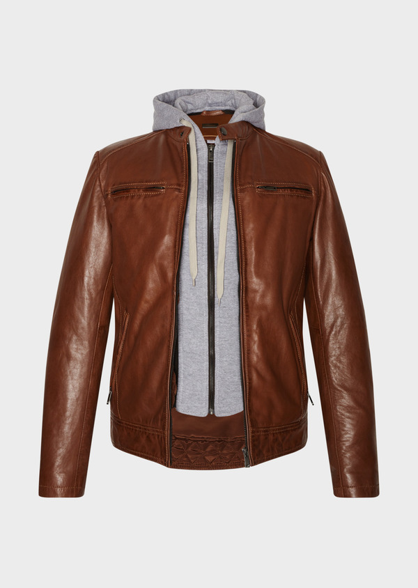 Blouson en cuir uni cognac - Father and Sons 31957