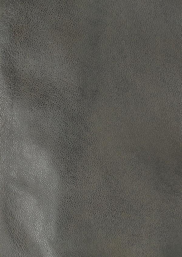 Blouson Biker en cuir uni vert kaki - Father and Sons 33791
