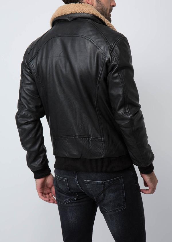 Blouson Flight Jacket en cuir uni noir - Father and Sons 30206