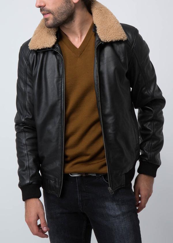Blouson Flight Jacket en cuir uni noir - Father and Sons 30205