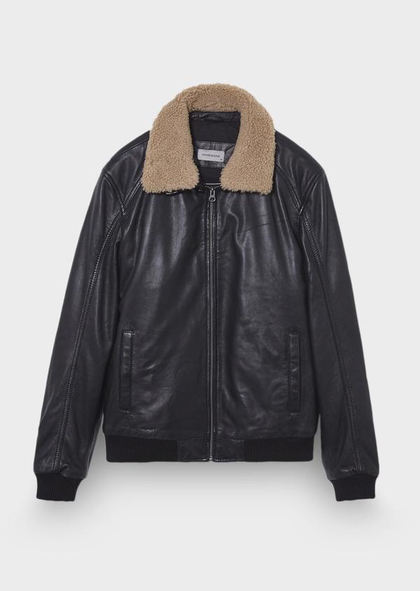 Blouson Flight Jacket en cuir uni noir - Father and Sons 30204