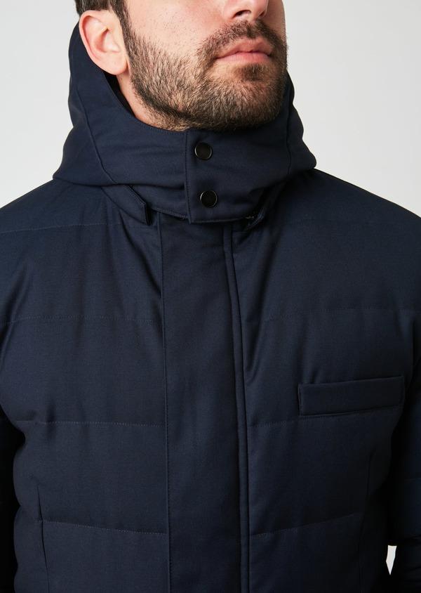 Parka unie bleu indigo à capuche amovible - Father and Sons 27504