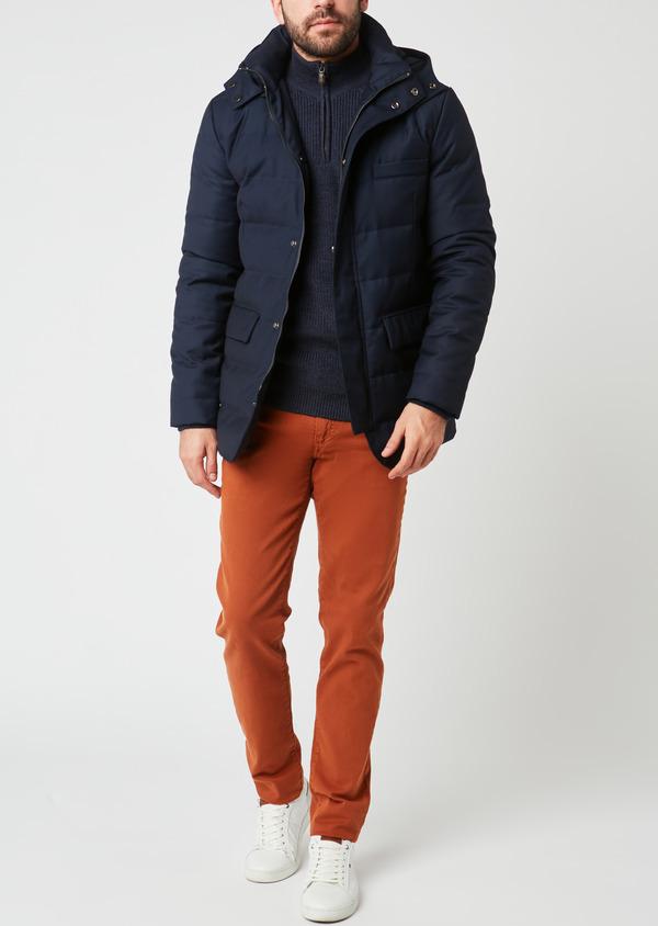 Parka unie bleu indigo à capuche amovible - Father and Sons 27502