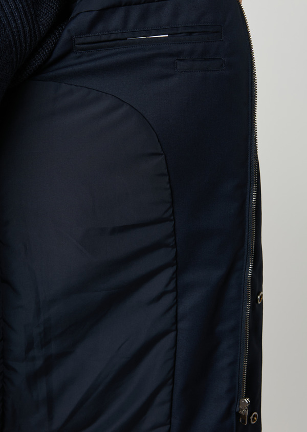Parka unie bleu indigo à capuche amovible - Father and Sons 27505