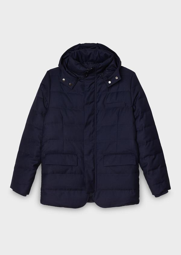 Parka unie bleu indigo à capuche amovible - Father and Sons 27500