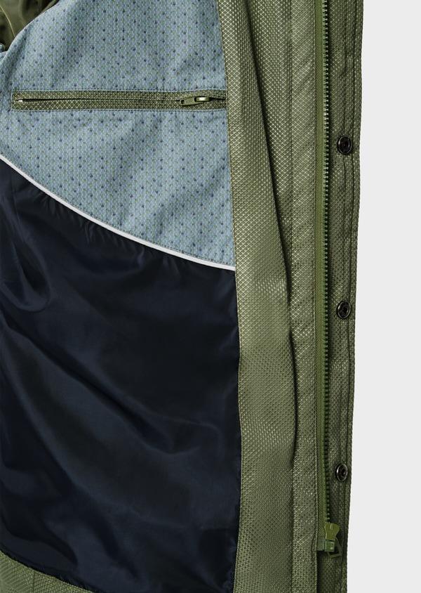 Parka courte unie vert kaki à capuche amovible - Father and Sons 39028