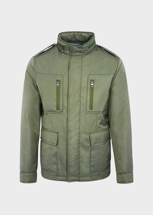 Parka courte unie vert kaki à capuche amovible - Father and Sons 39023
