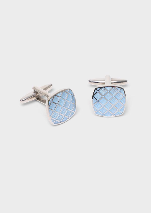Boutons de manchettes carrés bleu ciel et argent - Father and Sons 34738