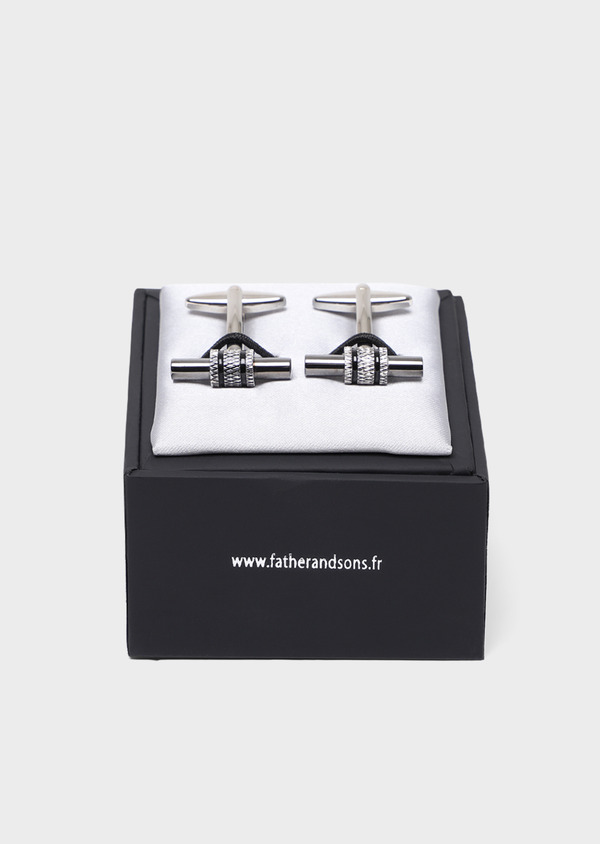 Boutons de manchettes fantaisie cylindres argent - Father and Sons 34752