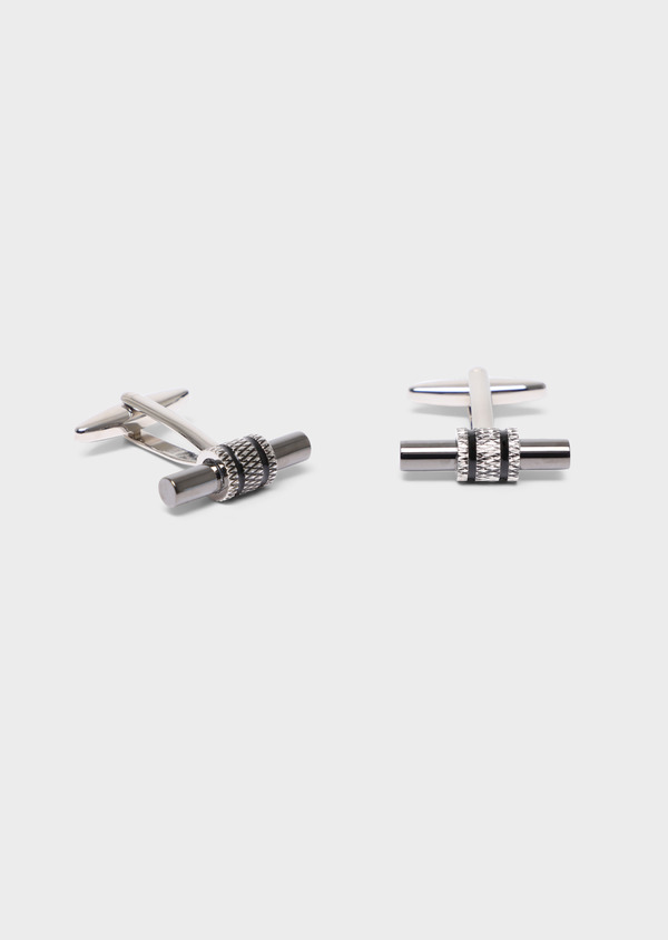 Boutons de manchettes fantaisie cylindres argent - Father and Sons 34751