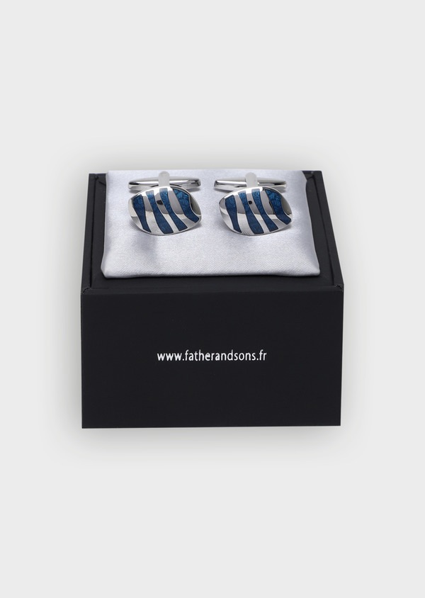 Boutons de manchettes à rayures bleues - Father and Sons 34735