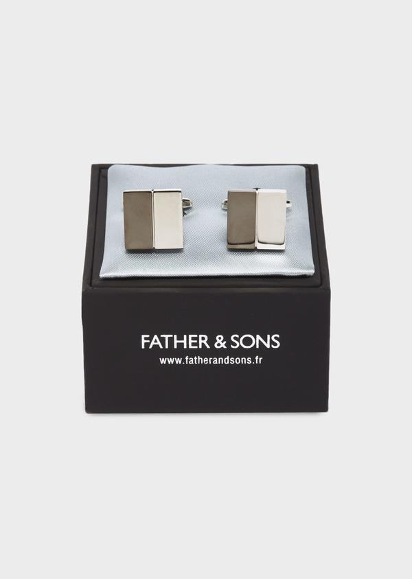 Boutons de manchettes carrés unis marron et beige - Father and Sons 29845