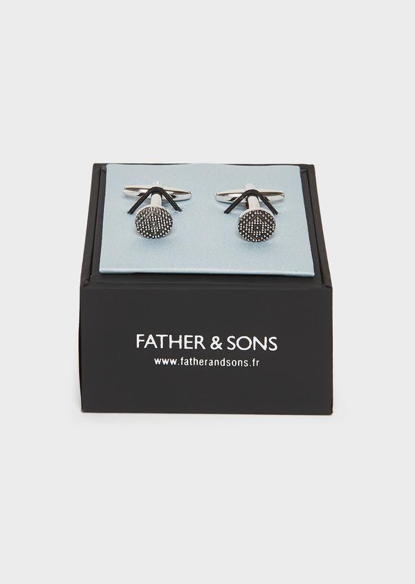 Boutons de manchettes fantaisie ronds argent - Father and Sons 25693
