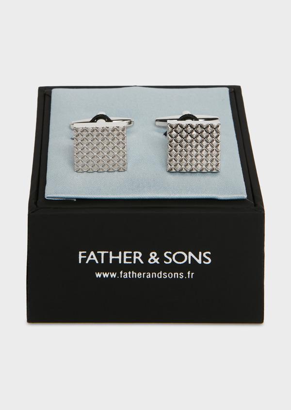 Boutons de manchettes carrés en reliefs argent - Father and Sons 25705
