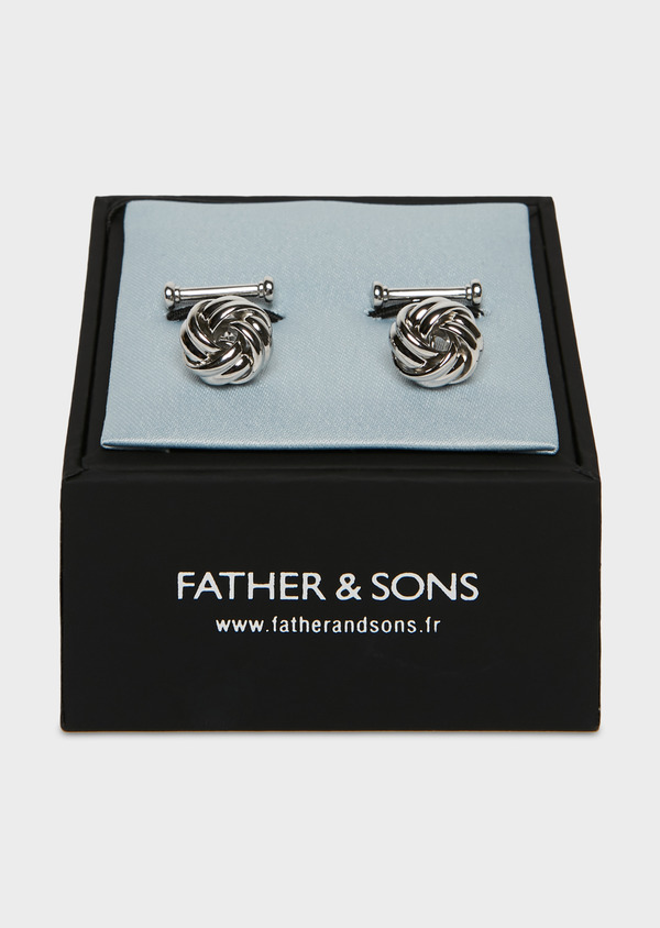 Boutons de manchettes fantaisie noeuds argent - Father and Sons 25709