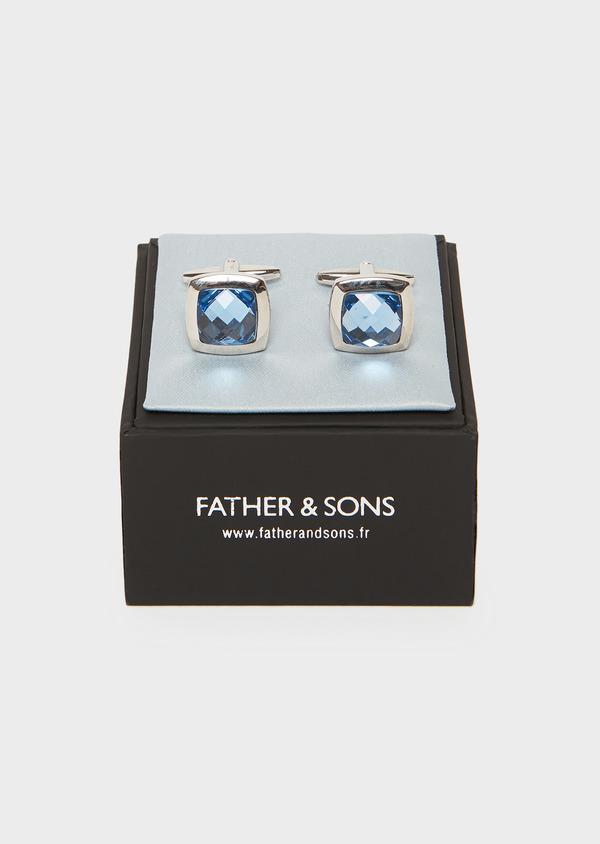 Boutons de manchettes fantaisie carrés bleus - Father and Sons 25685
