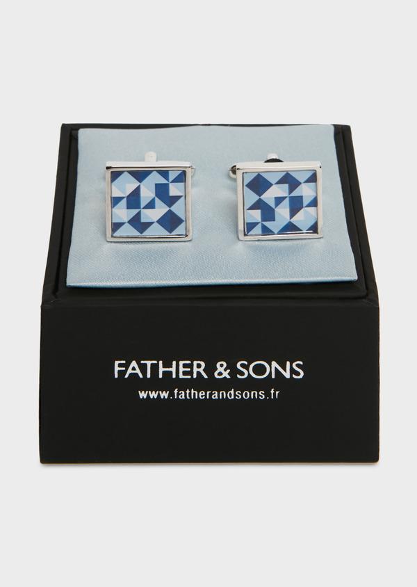 Boutons de manchettes fantaisie carrés bleus - Father and Sons 25657